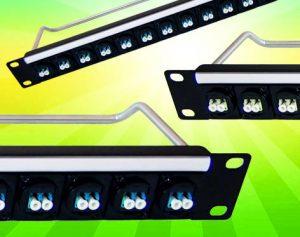 16 optical fibre connectors in 1U rack panel