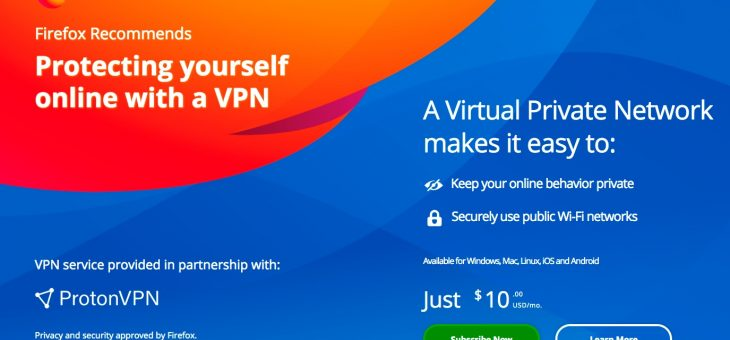 Mozilla begins promoting premium VPN service within Firefox